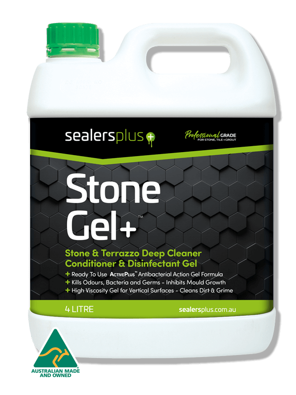STONE-GEL+ professional grade, high viscosity alkaline gel cleaner, conditioner & commercial grade disinfectant. Perfect for vertical surfaces