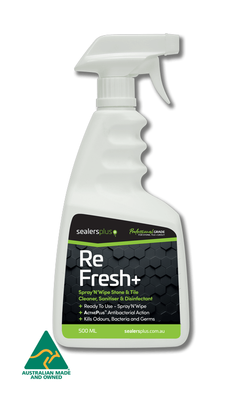 REFRESH+ ready to use spray type cleaner, sanitiser & commercial grade disinfectant. Ideal for all hard surfaces.